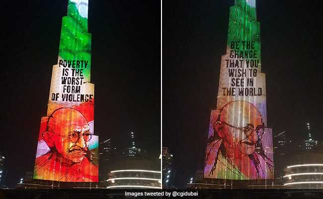 Messages From Mahatma Gandhi Light Up Dubai's Burj Khalifa. Watch