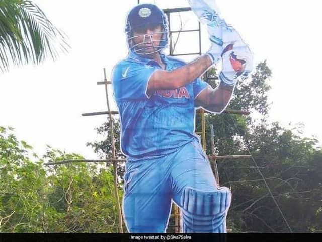 Kerala Fans Erect 35-Foot Cut-Out Of MS Dhoni In Thiruvananthapuram