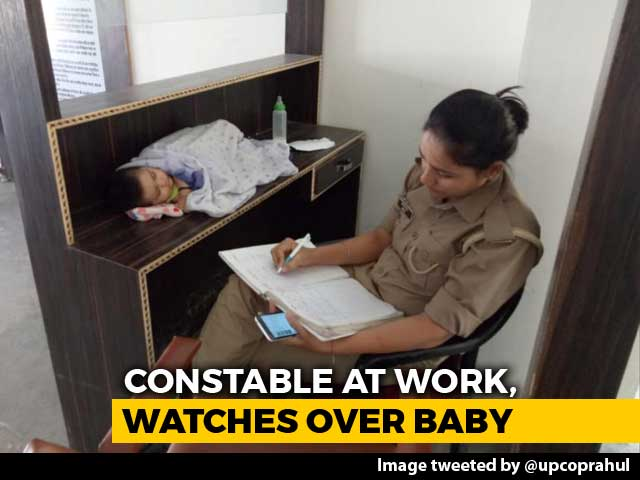 "Video : Mom Cop With Baby At Work, UP Police Chief ""Explores Creche Options"""