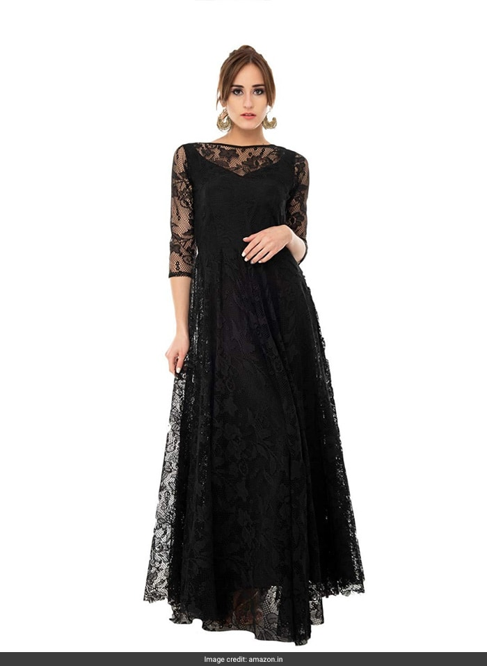 3b616f7319a6 With lace sleeves and a boat shaped neck, this gown will make you look  pleasingly graceful and stylish in appearance. It is priced at Rs 1,949 on  Amazon.
