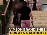 Video : Watch: Former BSP Lawmaker's Son Waves Gun Outside 5-Star Hotel In Delhi