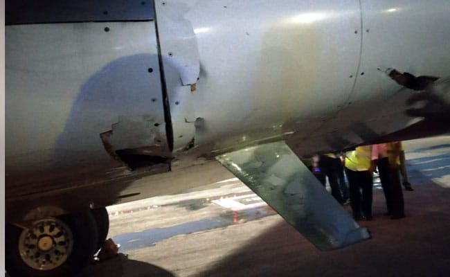 The belly of the Air India Express aircraft was damaged after hitting the Trichy airport wall