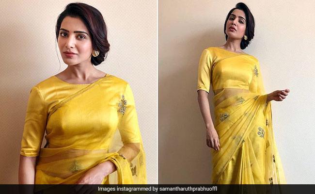 958c151e4f27c 3 Gorgeous Yellow Sarees To Nail Ethnic Style Like Samantha Ruth Prabhu