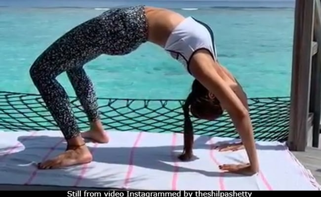 Shilpa Shetty Nailing Chakrasana Might Take Your Eyes Off The Blue Maldives Ocean