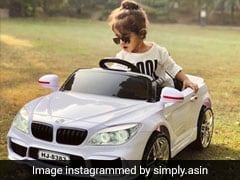 In Pics: Asin's Daughter Enjoys Joyride In Her Toy Car, A Gift From '<I>Maasi</I>' Raveena Tandon
