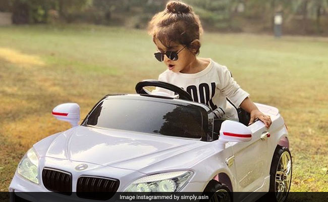 In Pics: Asin's Daughter Enjoys Joyride In Her Toy Car, A Gift From 'Maasi' Raveena Tandon