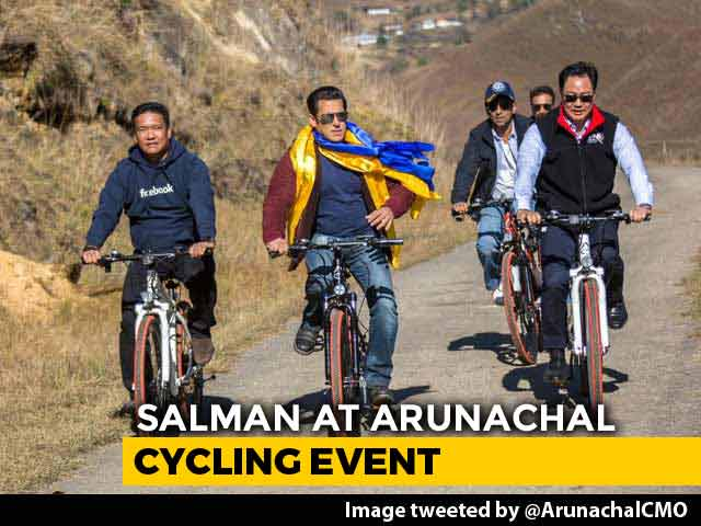 Video : Salman Khan Goes Cycling With Kiren Rijiju, Pema Khandu In Arunachal