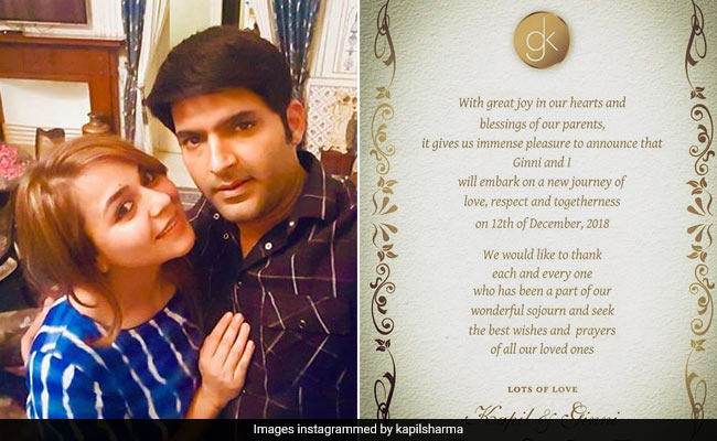 Kapil Sharma Shares First Glimpse Of His Wedding Card