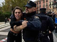Topless Femen Activists Disrupt Rally Of Former Dictator's Fans In Madrid