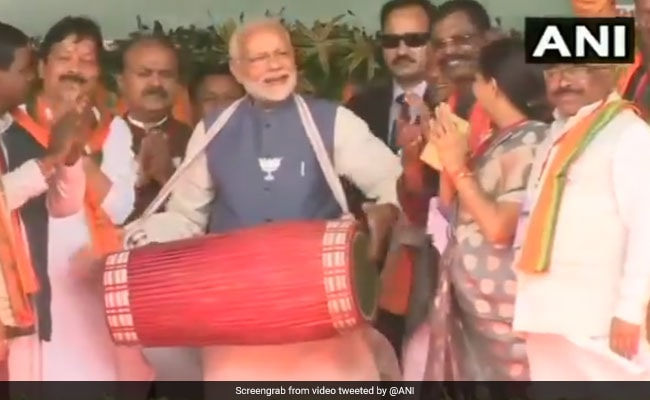 Watch: PM Modi Plays Traditional Drum At Chhattisgarh Rally