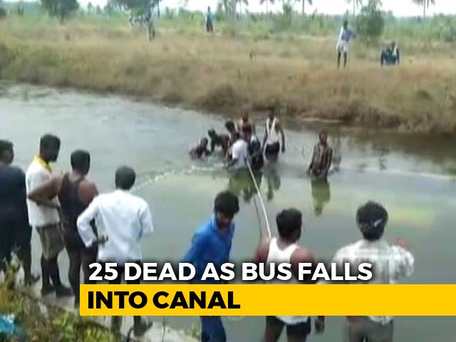 Video : 30 Dead After Bus Falls Into Canal In Karnataka's Mandya, 4 Rescued