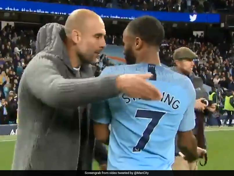 Watch: Pep Guardiola Involved In Heated Exchange With Raheem Sterling After Manchester Derby