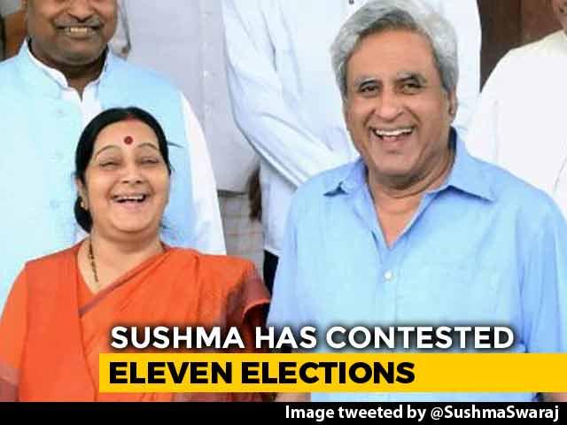 "Video : ""Madam, Thank You"": Sushma Swaraj's Husband On Her 2019 Polls Reveal"