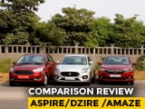 Video : Ford Figo Aspire Facelift vs Maruti Suzuki Dzire vs Honda Amaze: Comparison Review