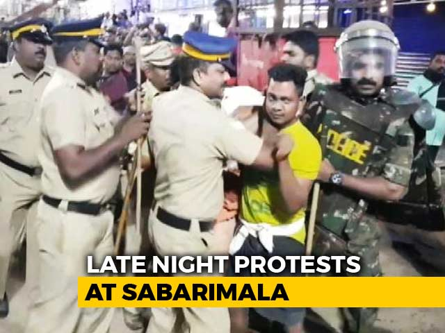 Video : Late-Night Clashes At Sabarimala, Protests Outside Chief Minister's Home