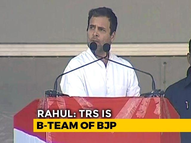 "Video : TRS Is ""Telangana Rashtra Sanghpariwar"": Rahul Gandhi's Potshot At KCR"