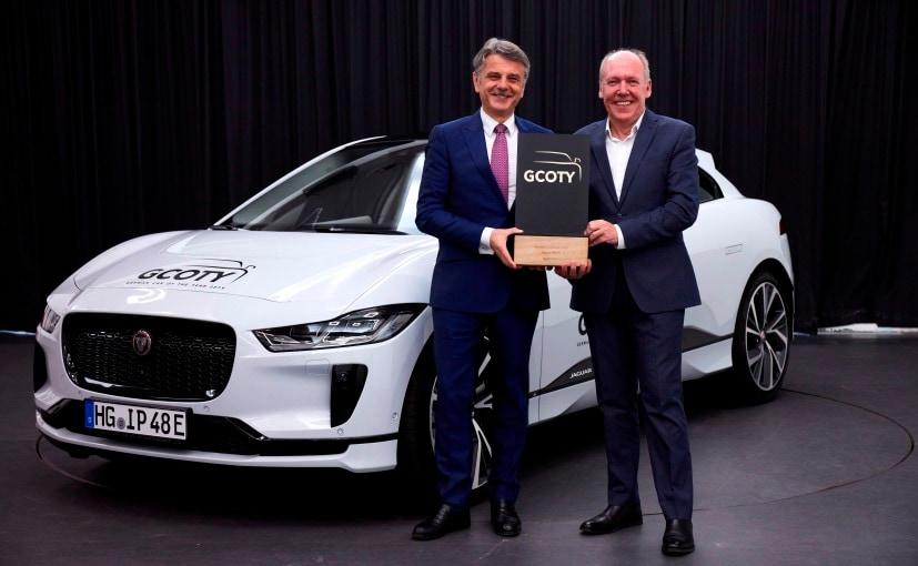 Ralf Speth, JLR CEO and Ian Callum, Jaguar Design Director receiving the award for the Jaguar I-Pace