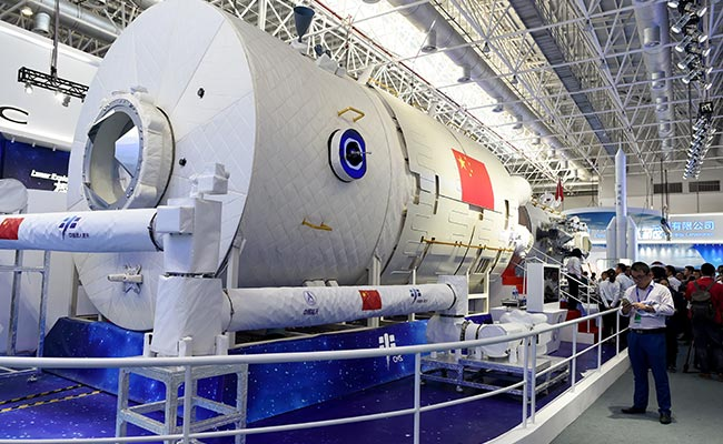 A partial model of Chinese space station is seen on display at the Airshow China 2018 in Zhuhai south China