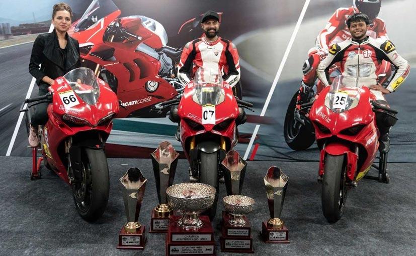(L-R) Riders Neharika Singh Yadav, Gurvinder Singh and Deepak Ravi Kumar with the Ducatis