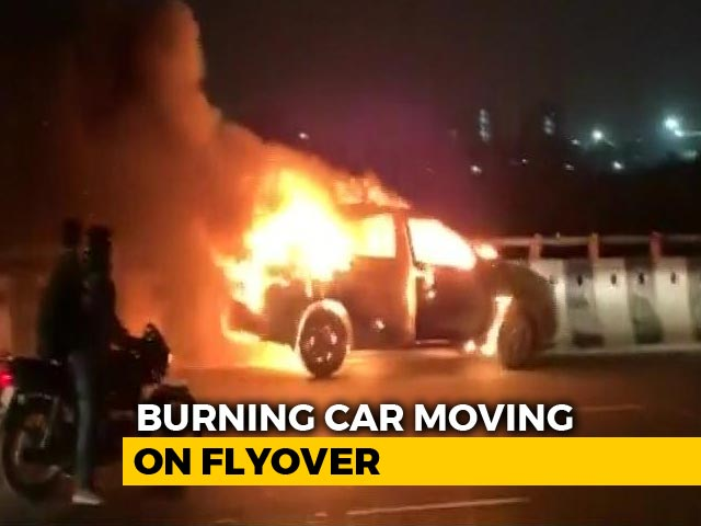 Video : Dramatic Video Shows Burning Car Moving On Gurgaon Flyover