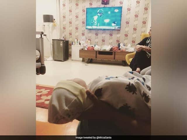 "Sania Mirza And Baby Izhaan Watch ""Baba"" Shoaib Malik Play"