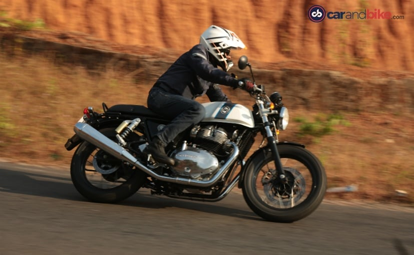 The Royal Enfield Continental GT 650 has sportier ergonomics than the Interceptor 650