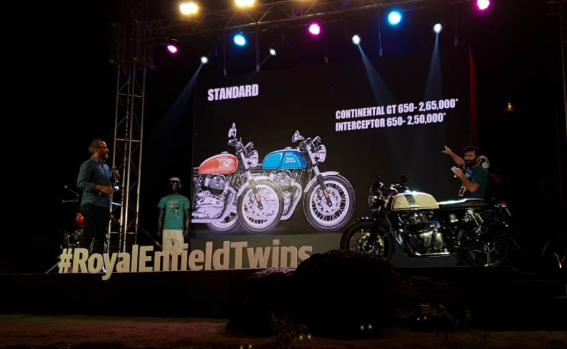Royal Enfield CEO Siddhartha Lal and President Rudratej Singh announcing the prices of the bikes