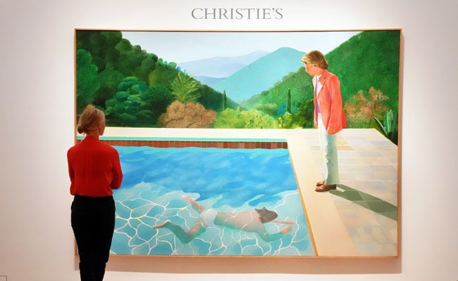 David hockney 39 s iconic pool with two figures portrait sets - David hockney swimming pool paintings ...