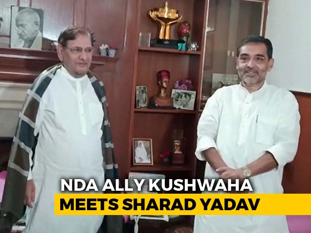 Video : Unhappy With BJP's Seat Sharing Plan, Upendra Kushwaha Meets Sharad Yadav