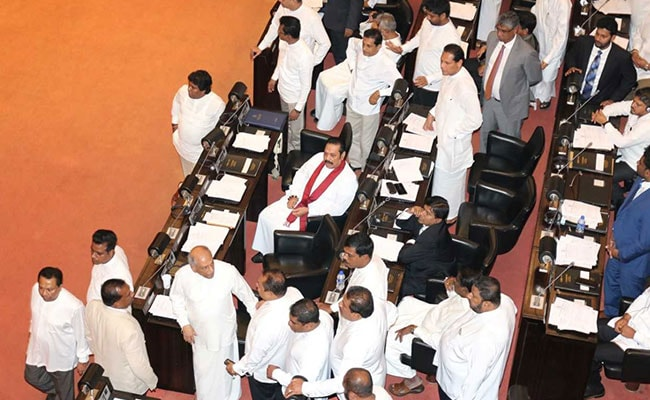 Books, Water Bottles Thrown At Speaker Amid Chaos In Sri Lanka Parliament