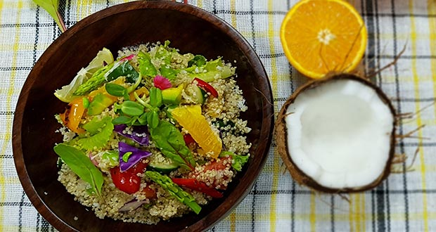 Coconut Lime Quinoa Salad Recipe By Sanjay Rawat Ndtv Food