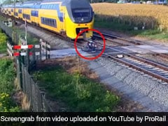 Cyclist Did Not See Oncoming Train. Watch What Happened Next...