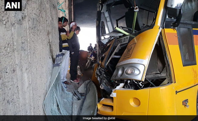 16 Students Injured After School Bus Hits Divider On Busy Noida Road