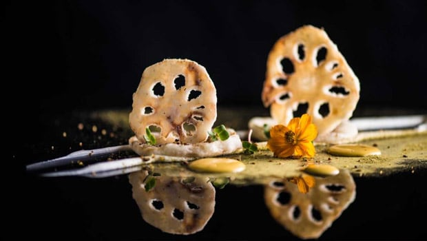 Crispy Thai Lotus Root and Truffle Cream