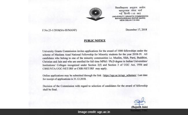 UGC notification, UGC, MANF, MANF fellowship, MANF scholarship, minority scholarship