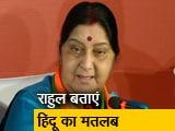 Video : विदेश मंत्री सुषमा स्वराज का निशाना- राहुल बताएं हिंदू होने का मतलब क्या है ?
