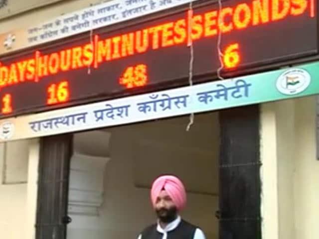 "Video : Clock Times ""End Of Vasundhara Raje Rule"" At Jaipur Congress Head Office"
