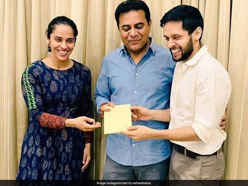 Saina Nehwal, Parupalli Kashyap Extend Wedding Invitation To KT Rama Rao