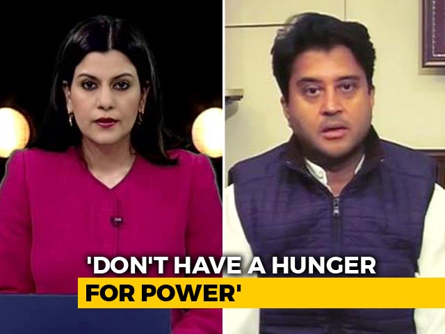 "Video : ""Like My Father, Don't Have Hunger For Any Post"": Jyotiraditya Scindia To NDTV"