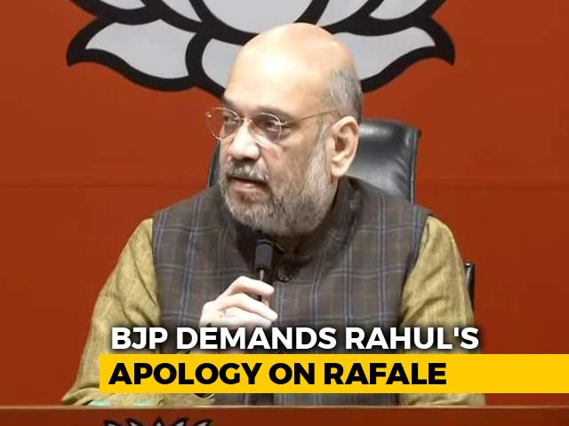 "Video : ""Rahul Gandhi Should Apologise,"" Says BJP Chief Amit Shah On Rafale Order"