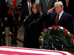 Donald Trump, Melania Trump Pay Respects To George HW Bush