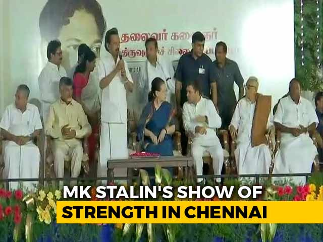 Video : Sonia Gandhi, Rahul Attend Opposition Parade At DMK Event In Chennai