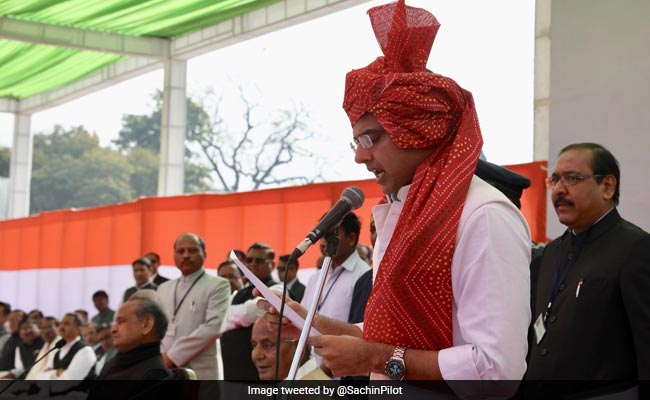 Sachin Pilot Wears Traditional Turban While Taking Oath After 2014 Pledge