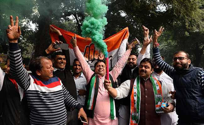 Song, Celebration As Congress Leads In Chhattisgarh, Rajasthan