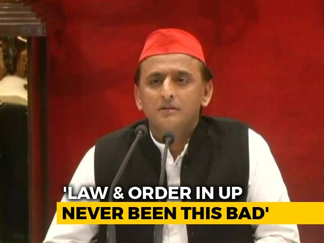 "Video : Akhilesh Yadav's ""Thok Do"" Attack On Yogi Adityanath Over Cop's Killing"