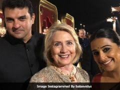 Vidya Posts Pic With Hillary Clinton From Isha-Anand's Party