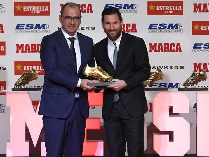 Golden Shoe award for Messi on Tuesday for finishing last season as the top goalscorer in Europe