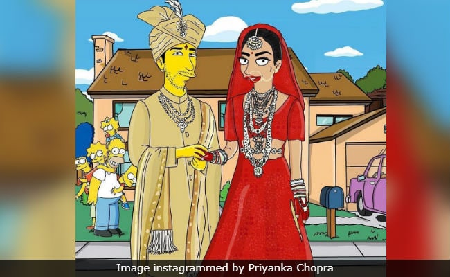 Pics Of Priyanka Chopra And Nick Jonas' Wedding A La The Simpsons Are So, So Cute