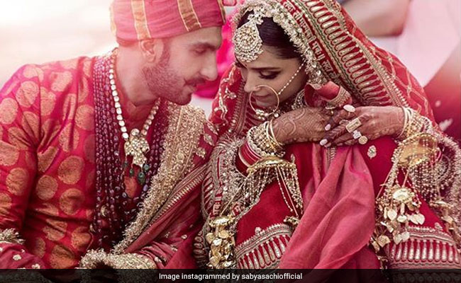 Deepika Padukone wedding dress Sabyasachi, Ranveer Singh wedding dress