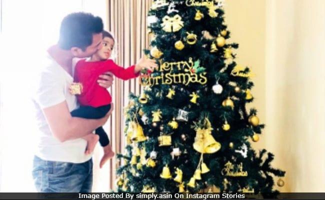 Asin, Rahul Sharma And Daughter Arin Send Christmas Greetings. See Pics